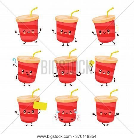 Cute Happy Soda Water Cup Set Collection. Vector Flat Cartoon Character Illustration Icon Design.iso