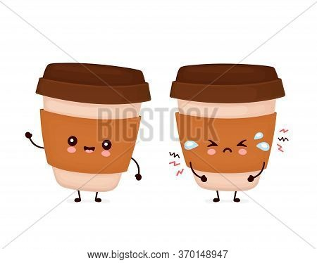 Cute Happy Coffee Paper Cup With Question Mark And Idea Lightbulb. Vector Flat Cartoon Character Ill