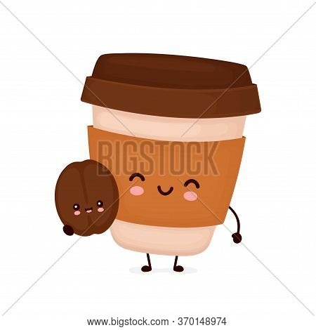Cute Happy Coffee Paper Cup With Brown Bean. Vector Flat Cartoon Character Illustration Icon Design.