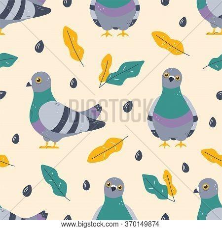 Pigeon Bird And Leafs Seamless Pattern. Vector Flat Stylish Modern Trendy Illustration Icon Design.