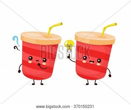 Cute Happy Soda Water Cup With Question Mark And Idea Lightbulb. Vector Flat Cartoon Character Illus