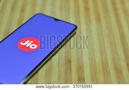 Mumbai, India, 2020. Flat Lay Showing Reliance Jio App Landing Page On The Mobile Screen. Internet U