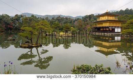 Kinkakuji Temple Golden Pavillion In Kyoto, Japan
