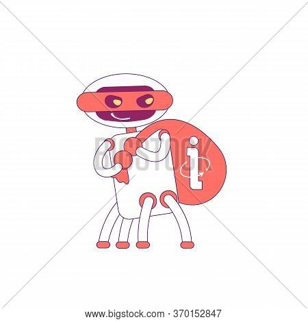 Information Stealing Robot Red Linear Object. Scraper Bad Bot Thin Line Symbol. Info Harvesting Soft