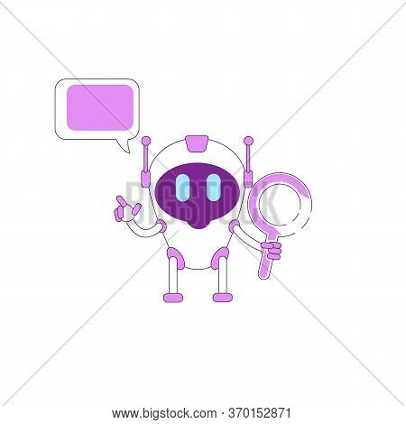 Virtual Assistant Flat Color Vector Character. Boy Bot With Magnifying Glass. Smart Ai. Purple Human