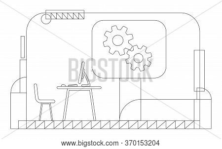 Company Ceo Office Outline Vector Illustration. Executive Manager Workplace Contour Composition On Y