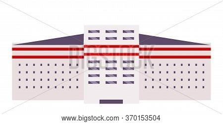 Building Exterior Cartoon Vector Illustration. Industrial Factory, College Campus, Dorm Flat Color O