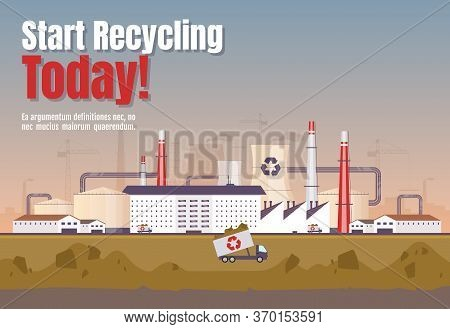 Start Recycling Today Banner Flat Vector Template. Waste Management Horizontal Poster Word Concepts