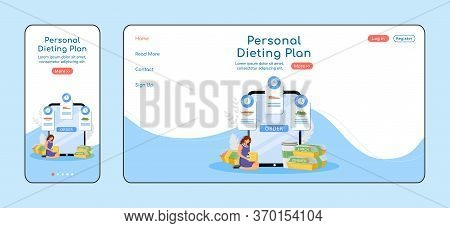 Personal Dieting Plan Adaptive Landing Page Flat Color Vector Template. Diet Meals Mobile And Pc Hom