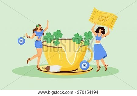 Luck Charms And Good Omens Flat Concept Vector Illustration. Young Superstitious Women With Talisman