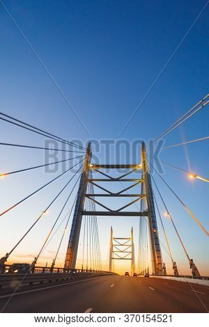 cable stayed bridge at sunset