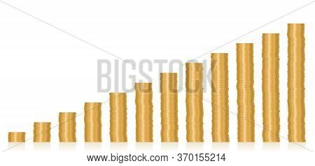 Stacked Coins. Twelve Increasing Money Towers, Symbol For Success, Salary Increase, Pay Raise, Caree