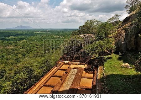 The Ruins Of An Ancient Fortress On The Famous Lion Mountain - Sigiriya, Sri Lanka. Brick Steps And