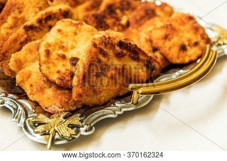 Delicious Golden Brown Wiener Schnitzel Prepared From Veal Slices. Viennese-style Schnitzel.