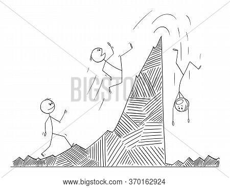 Vector Cartoon Stick Figure Drawing Conceptual Illustration Of Man, Businessman Or Stock Investor Wa