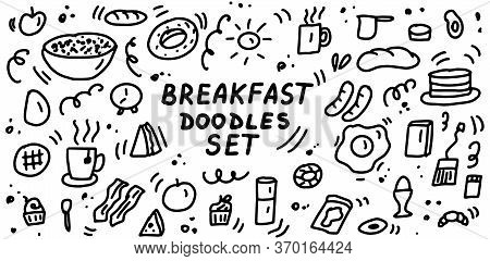 Breakfast Doodles Icon Set. Hand Drawn Lines Cartoon Food Icons Collection. For Restaurants, Cafes,