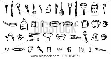 Hand Drawn Lines Kitchen Cooking Tools And Appliances, Kitchenware, Utensil Cartoon Icons Collection