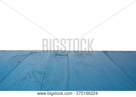 Blue Wooden Background Ready For Product Presentation Or Mockup. Isolated On White.