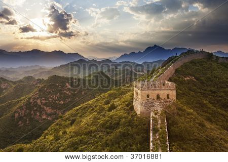 greatwall with sunset,which is landmark of beijing and china