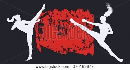 Karate - Two Women In A Fighting Stance - Abstract Grunge Style Background - Vector. Motivation For