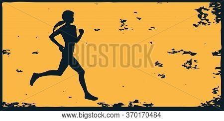 Runner - Woman Jogging - Abstract Grunge Yellow Black Background - Vector. Motivation For Action. Sp