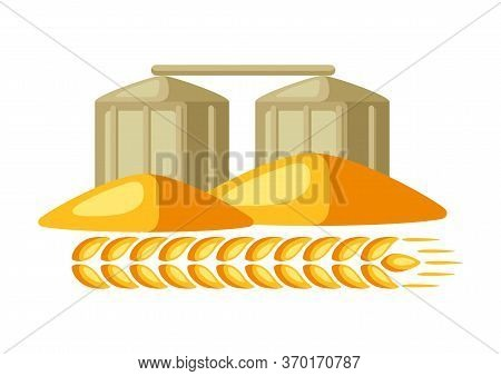 Illustration Of Granary With Ripe Wheat Ear. Agricultural Emblem.