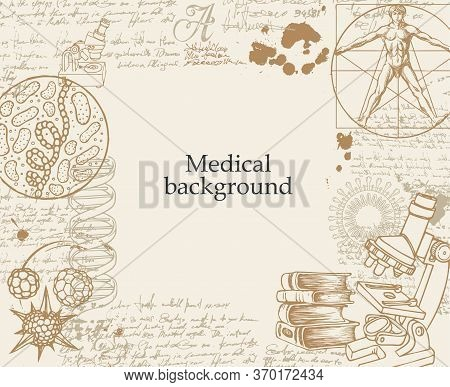 Medical Background With Sketches, Doodles, Illegible Entries, Notes And Place For Text. Hand-drawn V
