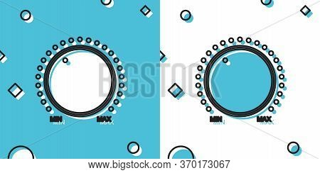 Black Dial Knob Level Technology Settings Icon On Blue And White Background. Volume Button, Sound Co