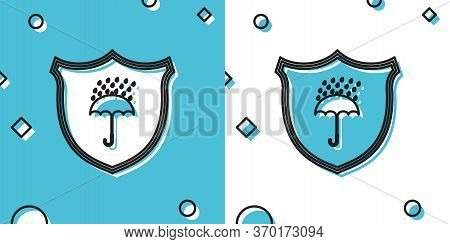 Black Waterproof Icon Isolated On Blue And White Background. Shield And Umbrella. Protection, Safety