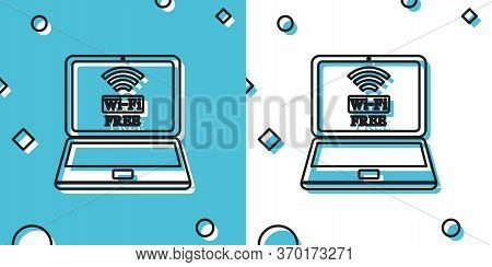Black Laptop And Free Wi-fi Wireless Connection Icon On Blue And White Background. Wireless Technolo