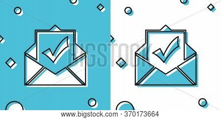 Black Envelope With Document And Check Mark Icon Isolated On Blue And White Background. Successful E