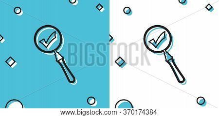 Black Magnifying Glass And Check Mark Icon Isolated On Blue And White Background. Magnifying Glass A