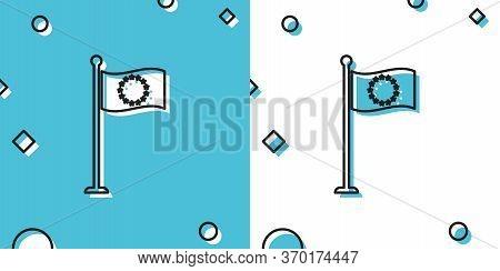 Black Flag Of European Union Icon Isolated On Blue And White Background. Eu Circle Symbol. Waving Eu