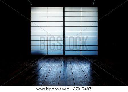 Japanese shoji window and old wood floor reflection.