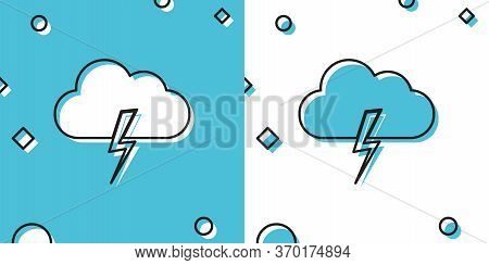 Black Storm Icon Isolated On Blue And White Background. Cloud And Lightning Sign. Weather Icon Of St