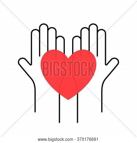 Charity, Volunteering And Donating Concept. Raised Up Human Hands With Red Heart. Children's Hands A
