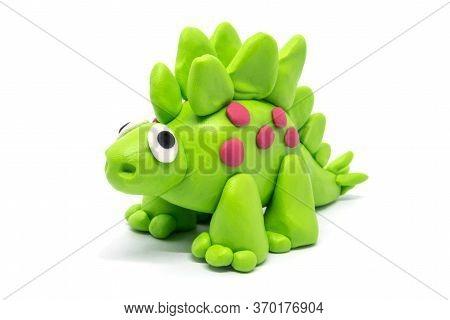 Play Dough Stegosaurus On White Background, Dinosaur