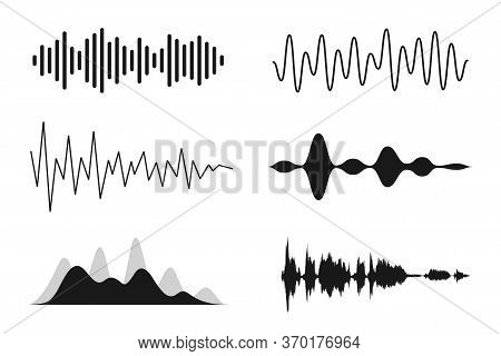 Set Of Sound Waves. Analog And Digital Line Waveforms. Musical Sound Waves, Equalizer And Recording