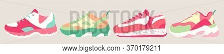 Snickers Shoes Vector Illustration. Cartoon Flat Fitness Sneakers Shoes For Sport Training In Gym, R