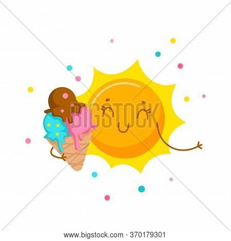 Cute Sun Eating Ice Cream. Cartoon Character, Kawaii Personage Enjoying Summer Spare Time, Sweet Foo