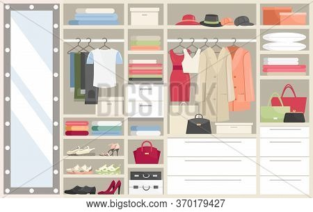 Wardrobe With Clothes Vector Illustration. Cartoon Flat Opened Closet Compartments With Woman Man Cl