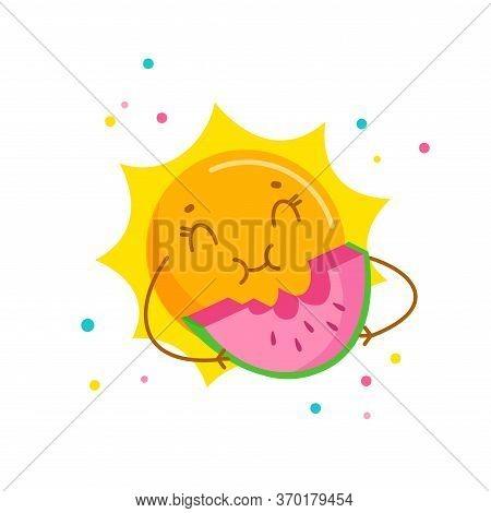 Funny Sun Enjoying Eating Watermelon. Cute Cartoon Character Summertime Activity, Kawaii Personage R