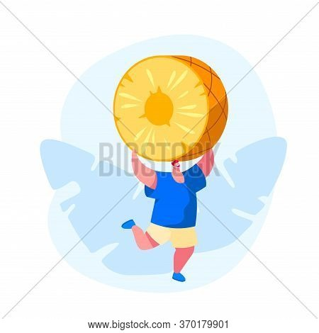 Tropical Fruits Diet. Young Man Carry Huge Pineapple, Tiny Male Character Hold Slice In Hands. Veget