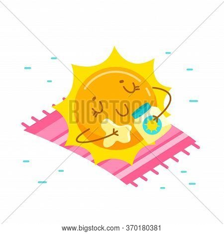 Cute Cartoon Sun Character Applying Cream For Tan. Kawaii Personage Take Sunbath On Summer Vacation.