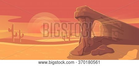 Desert Landscape Vector Illustration. Cartoon Panorama Dusty Nature Land With Sand Dunes, Dry Plants