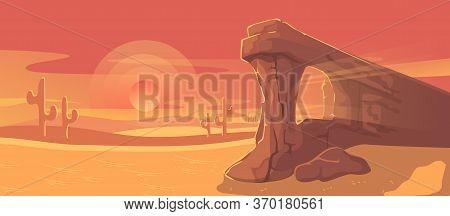 Desert Landscape Vector Illustration. Cartoon Panorama Dusty Nature Land With Sand Dunes, Dry Plants