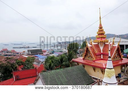 View Of Koh Sichang Overlooking The Lighthouse At The Main Pier On Koh Sichang, Chon Buri Province,