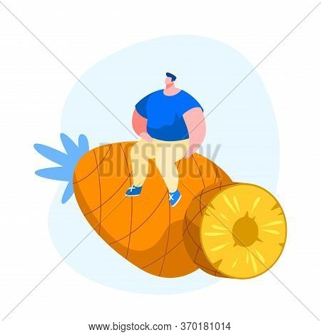 Tiny Male Character Sitting On Huge Pineapple. Tropical Fruits Diet. Young Man Choose Vegetarian And