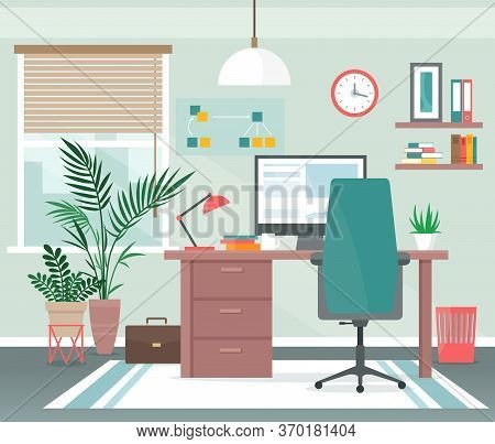 Home Office Workplace Vector Illustration. Cartoon Flat Apartment Room Interior With Computer On Tab