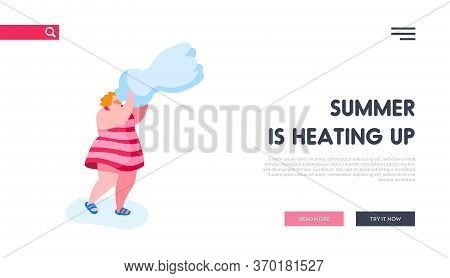 Thirsty Girl Drink Pure Aqua Landing Page Template. Woman Character Drinking Pure Water From Bottle